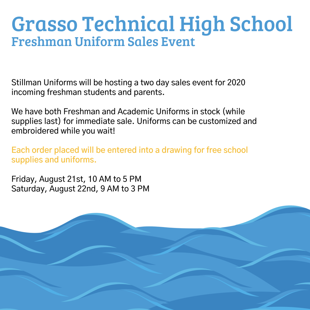 Grasso Tech Uniform Sale Event Flyer August
